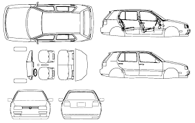 car plans car blueprints 2001 volkswagen golf iii hatchback blueprint