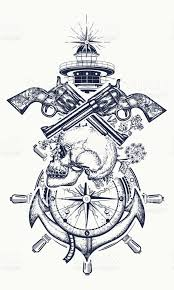 skull and guns anchor steering wheel compass lighthouse tattoo art