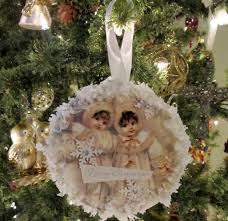 vintage ornaments from recycled cds and old christmas cards an
