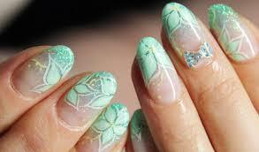 mint green flowers mint green flowers glitter nails favnails