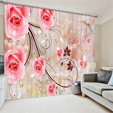 Petal Pink Curtains Pink Painting Blackout Curtains Living Room Hotel Drapes