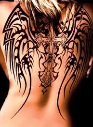 tribal tattoo meaning angel wings and cross designs on back for