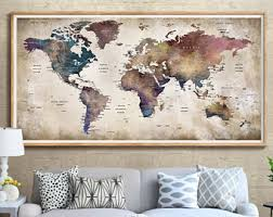 world map with country names contemporary wall decal sticker world map wall etsy