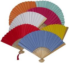 held paper fans plain colour paper fans with bamboo fretwork and tassels
