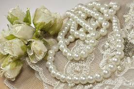 lace accessories wedding background with decoration accessories lace and pearls