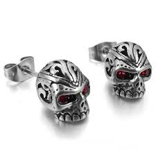 badass earrings badass skeleton skull stainless steel stud earrings