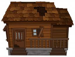 wooden house in bad condition vector free