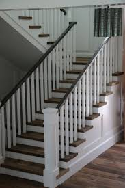 Wooden Banister Rails White Staircase Railing Simple White Staircase With White Railing