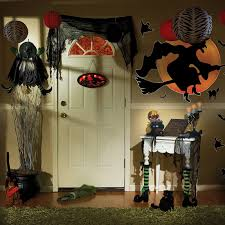interior house decor for halloween outdoor using standing ghost house decor for halloween in bedroom with black hanging drapes and witch sticker on the
