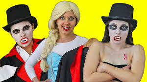 Real Life Halloween Costumes Frozen Elsa U0026 Spiderman Steal Vampire Girls Costume W Maleficent