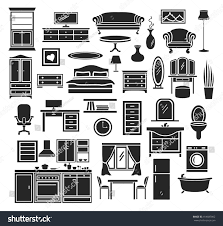 furniture items icons set bedroom living stock vector 414687862
