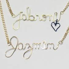 Wire Name Necklace Awesome Name Word Written In Sterling Silver Wire Necklace Jewelry