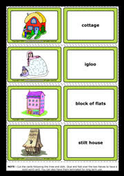 Types Of Houses Pictures Types Of Houses Esl Printable Flashcards And Game Cards