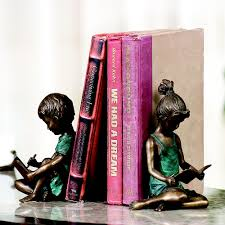 spi home 31886 beautiful figurine of reading boy and bookends