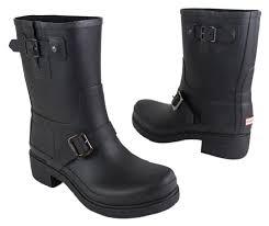 short black motorcycle boots hunter black short moto biker rubber rain 42 boots booties size us