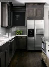 smoke glass subway tile stained kitchen cabinets contemporary
