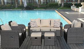 Yakoe Garden Furniture Yakoe 7 Seater Rattan Garden Furniture Sofa Set Plus Reclining