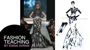 fashion sketch in black ink inspired by tex saverio haute