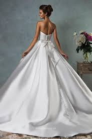 gown wedding dresses uk strapless floor length white satin simple gown wedding dress