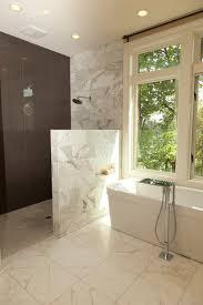 Open Showers No Doors Bathroom Showers With Half Walls Pinterdor Pinterest Half