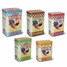 boite metal cuisine natives la gamme accessoires de cuisine set de 5 boites métal coq
