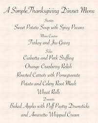 simple thanksgiving dinner menu