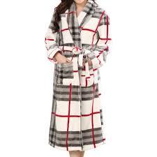 robe chambre polaire femme robe de chambre polaire femme check carreaux blanc cassé et gris à