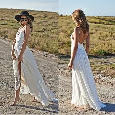 spaghetti straps beach wedding dresses 2017 v neck open back
