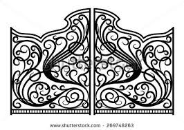 beautiful iron ornament gates stock vector 455619337