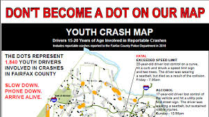 fairfax county map fairfax county map shows locations for youth involved crashes