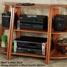 Brown Ladder Shelf Kimber Red Oak Corner And Ladder Shelves