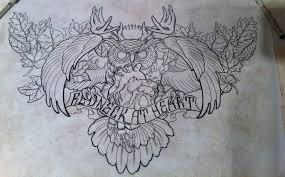 owl sugar skull design for brest or chest by redtrujillo