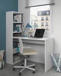 Computer Desk Workstation Duplex Floating Desk With Bookshelf In White By Furniturefactor Co Uk