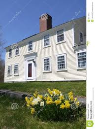 spring colonial house with sunlit yellow daffodils royalty free
