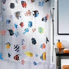 Bathroom Plastic Curtains 2018 180 200cm Tropical Fish Pvc Plastic Bathroom Shower Curtain