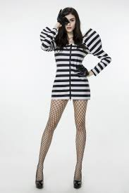 Black Halloween Costumes Girls 2017 Convict Dress Black White Stripes Zipper Uniform
