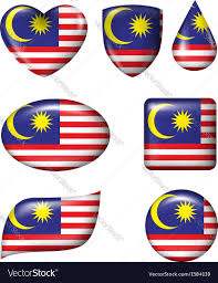 Maylasia Flag Malaysian Flag In Various Shape Glossy Button Vector Image