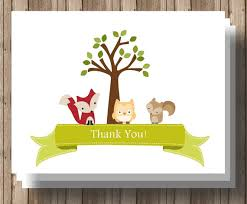 woodland animals baby shower thank you cards folded