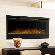 Electric Fireplace Insert Lighting Modern Living Room With White Brick Walls And Dimplex