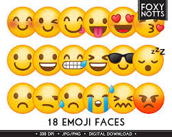 emoji clipart smiley faces digital download high resolution