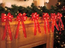 red lighted fireplace garland with red bows youtube