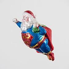 santa superman glass ornament glitter