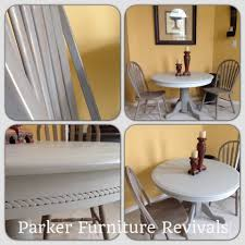 french country pedestal table painted in martha stewart smoke and