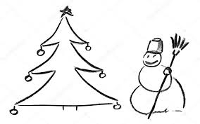 pencil sketch of christmas tree and snowman u2014 stock photo