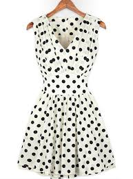 sleeveless polka dot pleated chiffon dress fit and flare white