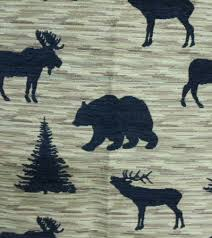 Tapestry Upholstery Fabric Discount Wildlife Silhouette Rustic Lodge Tapestry Upholstery Fabric