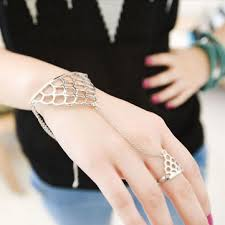 ring with chain bracelet images Hollow triangle net finger ring chain bracelet us 3 55 sold out png