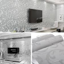 Grey Feature Wall New Heavyweight Vinyl Silver Grey Damask Feature Wall Paper Sliver