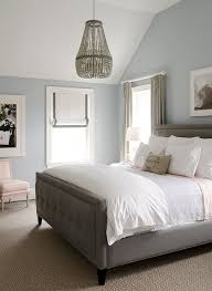 bedroom with a peaceful color scheme walls painted in benjamin