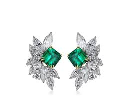 diamond cluster earrings carat emerald and diamond cluster earrings platinum